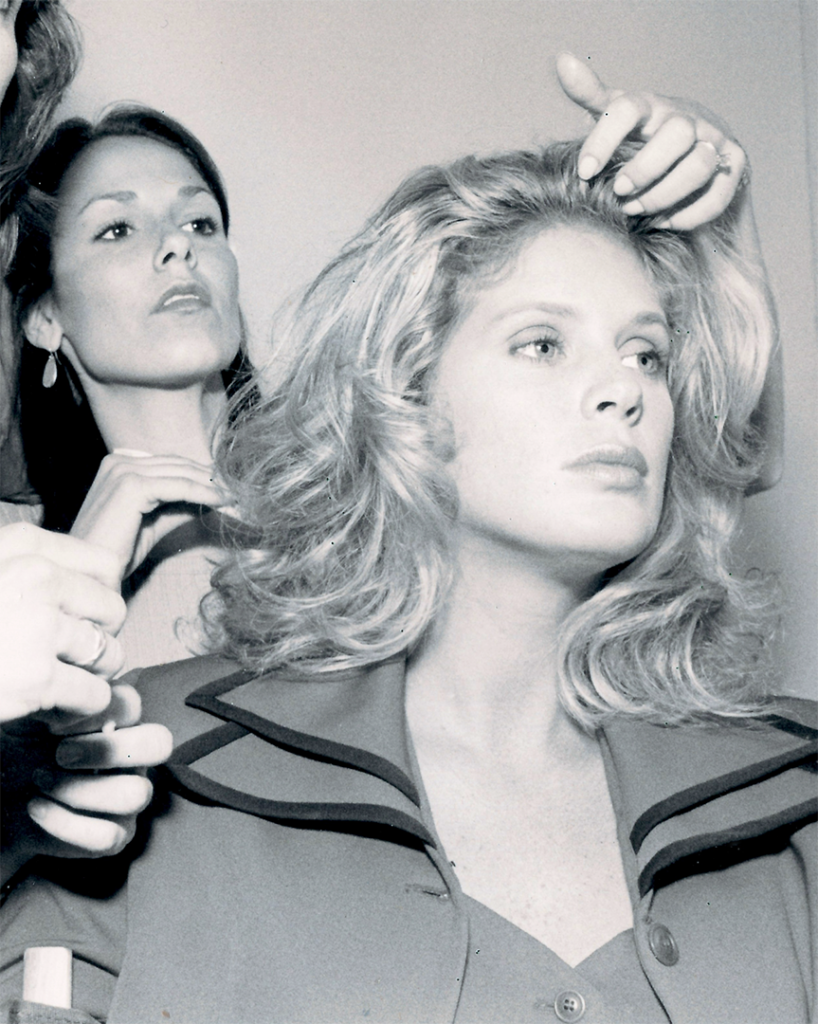 Lisa Jones-Butz styling Rachael Hunter's hair for Cover Girl (Proctor & Gamble)